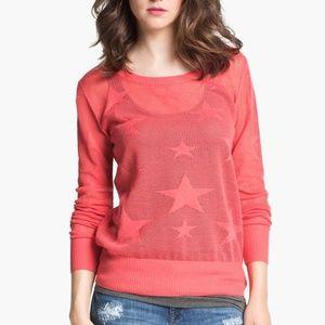 Sweaters - Sheer Orange Star Long Sleeve Sweater